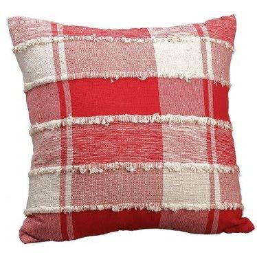 Coussin carreauté rouge et blanc