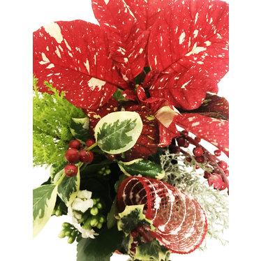 Arrangement naturel poinsettia de Noël - carré noir