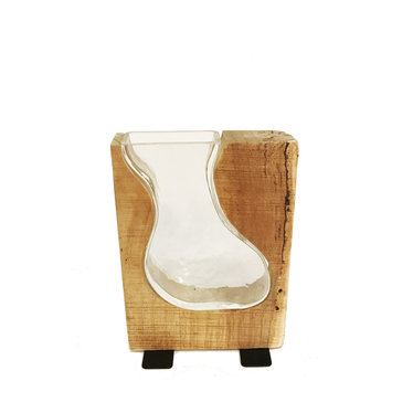Vase de verre et base de bois 9 pouces