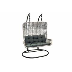 Chaise suspendu double noir avec coussin