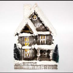 Maison 2 étages en bois gris enneigée LED, batterie et timer 32cm