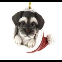 Chien Schnauzer suspendu dans une tuque de Noël 7cm