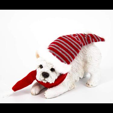 Chien terrier avec tuque et foulard 21cm
