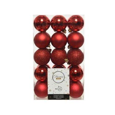 Boule incassable rouge brillant, mat, paillettes, craquele mix 6cm (30)
