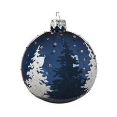Signé Garneau Boule verre arbre bleu blanc 8cm
