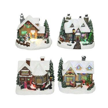 Maison et bonhomme de neige avec mouvement led multi