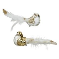 Oiseaux avec clip or et blanc (2ass)