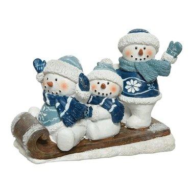 Traineau bonhommes de neige bleu et paillette