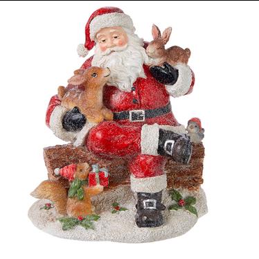Père-Noël et animaux de forêt 7,5 pouces