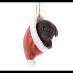 Chien Labrador suspendu dans une tuque de Noël 9cm