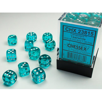 Chessex Translucent D6 12mm Dice: Teal/white
