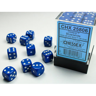 Chessex Opaque D6 12mm Dice: Blue/white