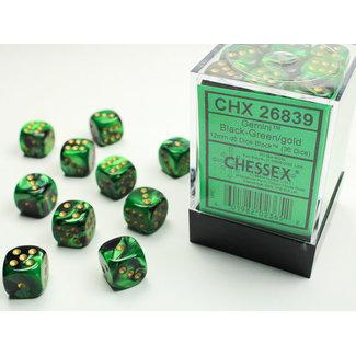 Chessex Signature D6 12mm Dice: Gemini Black-Green/gold