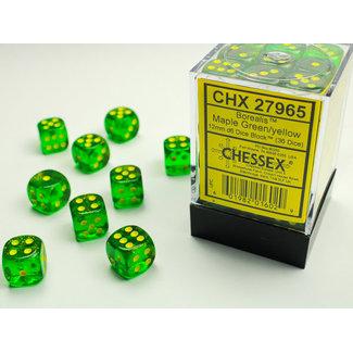 Chessex Signature D6 12mm Dice: Borealis Maple Green/yellow