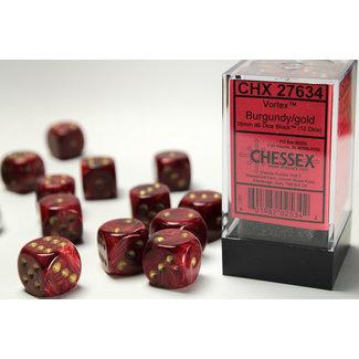 Chessex Signature D6 16mm Dice: Vortex Burgundy/gold