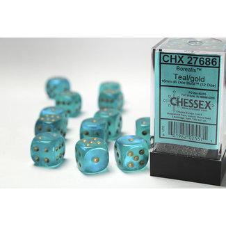 Chessex Signature D6 16mm Dice: Borealis Teal/gold
