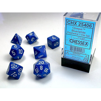 Chessex Opaque Polyhedral 7-Die Set: Blue/white
