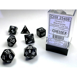 Chessex Opaque Polyhedral 7-Die Set: Black/white