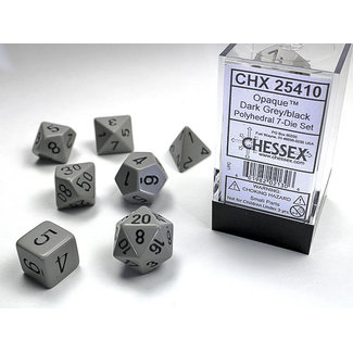 Chessex Opaque Polyhedral 7-Die Set: Dark Grey/black