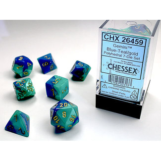 Chessex Signature Polyhedral 7-Die Set: Gemini Blue-Teal/gold