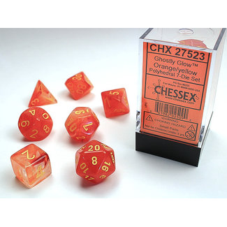Chessex Signature Polyhedral 7-Die Set: Ghostly Glow Orange/yellow