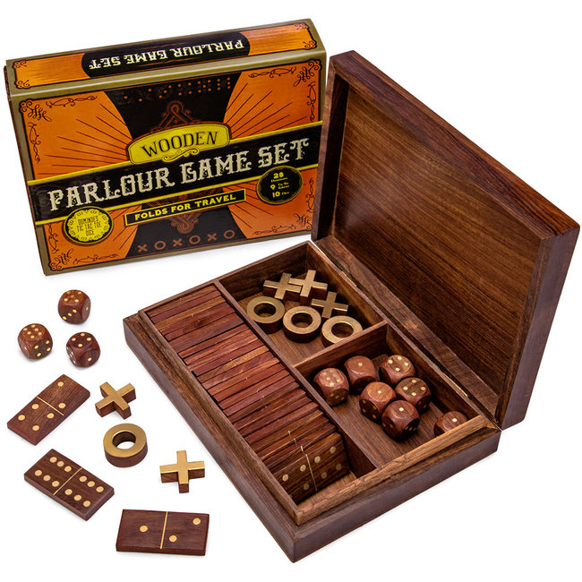 3-in-1 Wooden Parlour Game Set