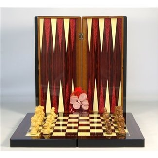 19'' Simple Wood Decoupage Backgammon with Chessmen