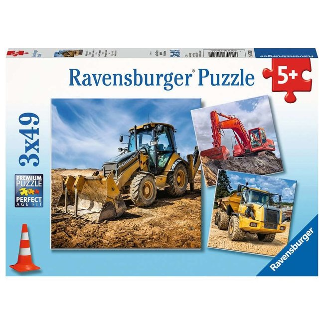 Digger at Work 3 x 49 pc Puzzles