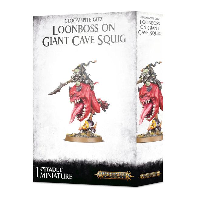 AoS Gloomspite Gitz Loonboss on Giant Cave Squig