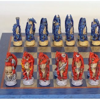 Worldwise Imports Dragon Chessmen Blue and Grey Board Chess Set