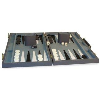 "Worldwise Imports 18"" Grey Vinyl Backgammon Set"