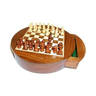 """Worldwise Imports 6"""" Round Magnetic Chess Set with Drawer"""