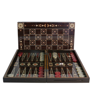"Worldwise Imports 15"" Floral Decoupage Wood Backgammon & Chess Set"
