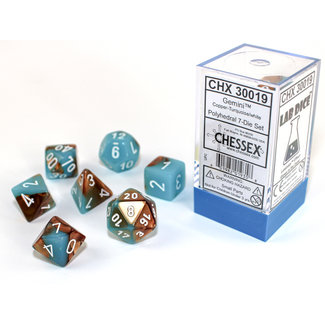 Chessex Signature Polyhedral 7-Die Set: Gemini Copper-Turquoise/white Luminary
