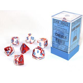 Chessex Signature Polyhedral 7-Die Set: Gemini Red-White/blue 7-Die Set
