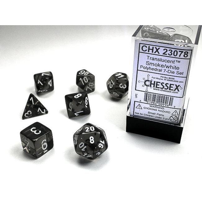 Translucent Polyhedral 7-Die Set: Smoke/White