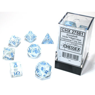 Chessex Borealis® Polyhedral 7-Die Set Icicle™/light blue Luminary™
