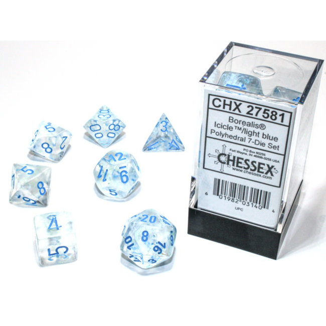 Borealis® Polyhedral 7-Die Set Icicle™/light blue Luminary™