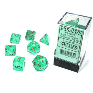 Chessex Borealis® Polyhedral 7-Die Set Light Green/gold Luminary™
