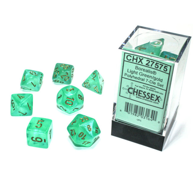 Borealis® Polyhedral 7-Die Set Light Green/gold Luminary™