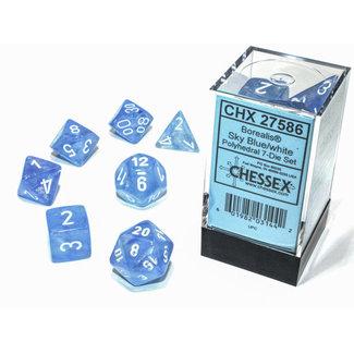 Chessex Borealis® Polyhedral 7-Die Set Sky Blue/white Luminary™