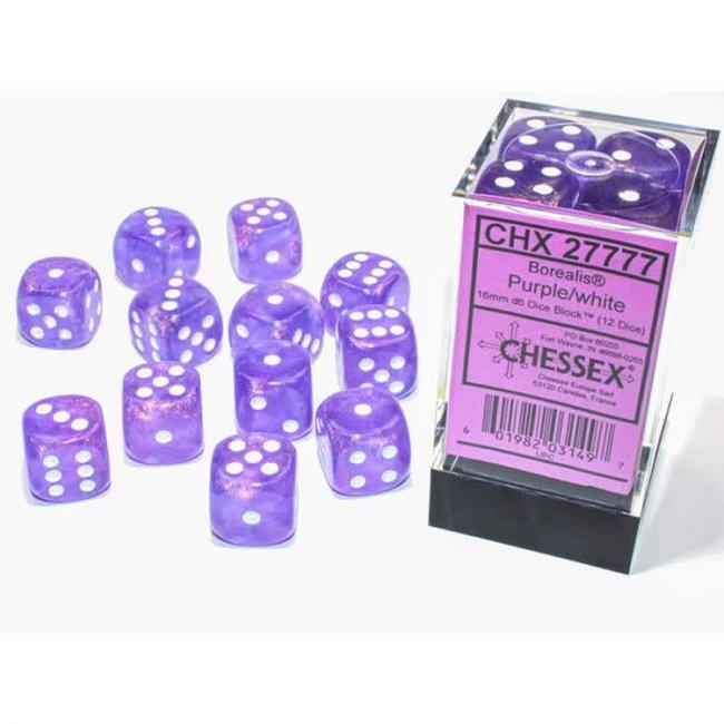 Borealis® 16mm d6 Purple/white Luminary™ Dice Block™