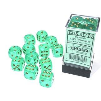 Chessex Borealis® 12mm d6 Light Green/gold Luminary™ Dice Block™