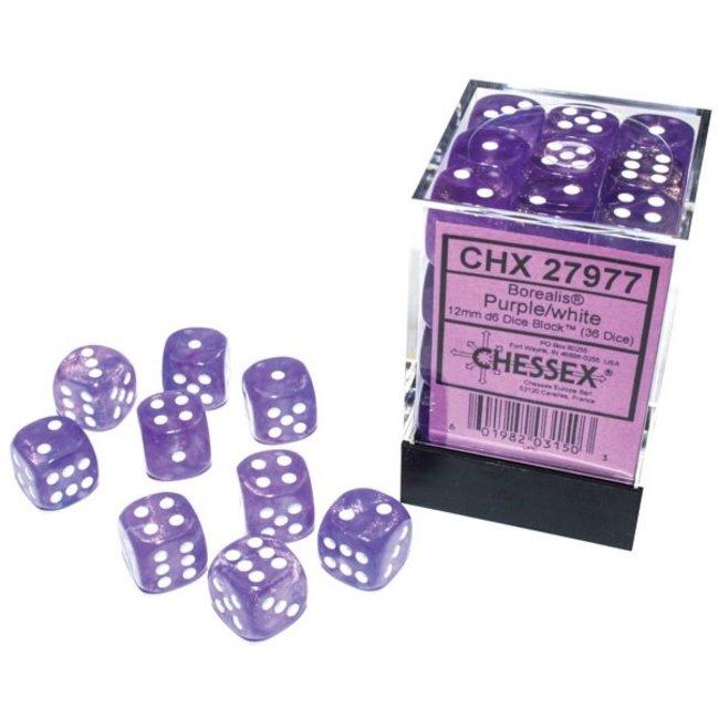 Borealis® 12mm d6 Purple/white Luminary™ Dice Block™