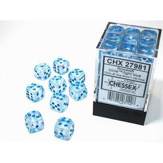 Chessex Borealis® 12mm d6 Icicle™/light blue Luminary™ Dice Block™