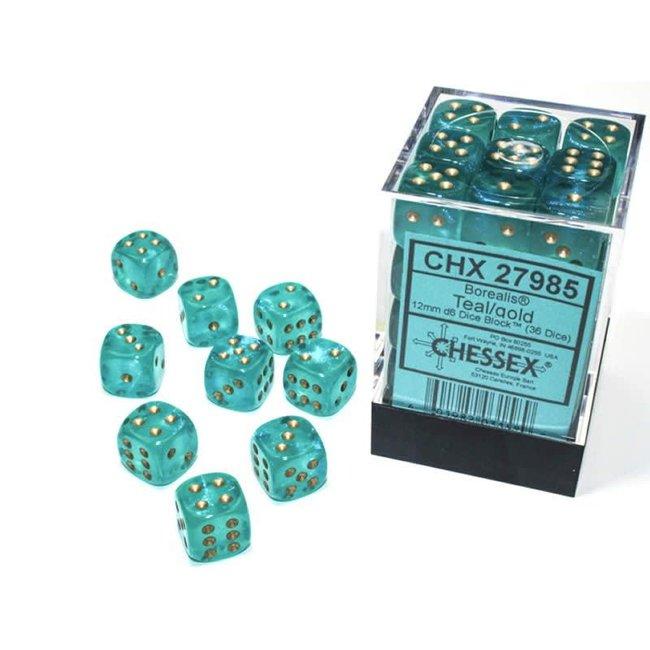 Borealis® 12mm d6 Teal/gold Luminary™ Dice Block™