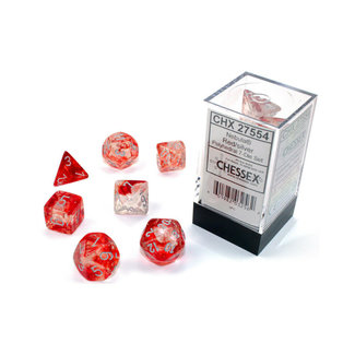 Chessex Signature Polyhedral 7-Die Set: Nebula Red/silver*