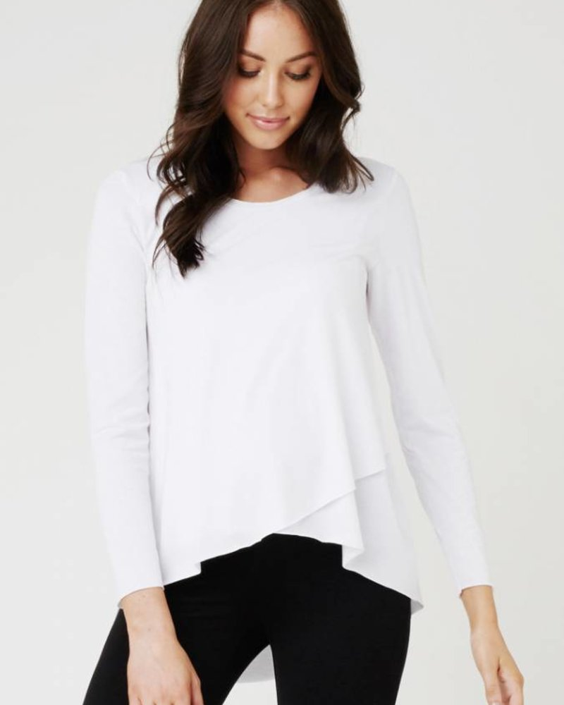Ripe Ripe Maternity White 'Raw Edge' Nursing Top