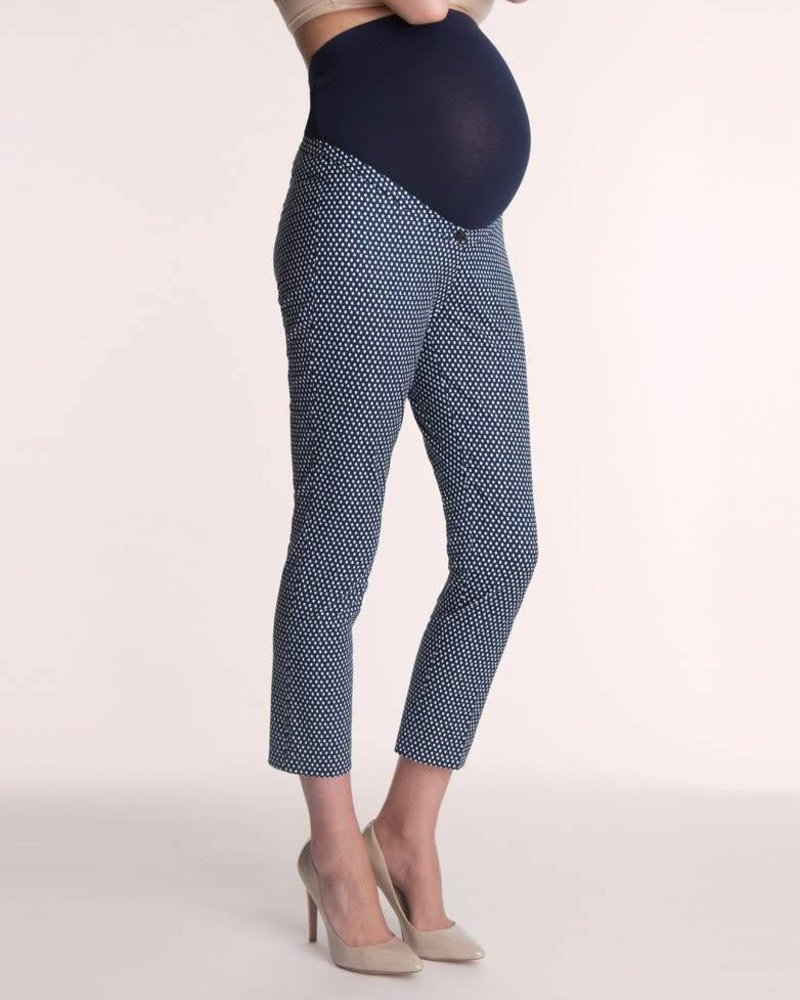 Seraphine Maternity Seraphine Maternity Navy 'Brooklyn' Over Belly Printed Ankle Pant (Size 10) **FINAL SALE**