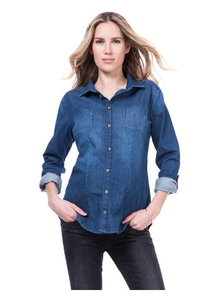 Seraphine Maternity 'Carter' Roll Sleeve Denim Top (Medium) **FINAL SALE**